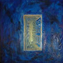 blue door with figure